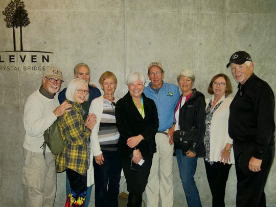 Paul and Maggie, Mike and Karen Ball, of San Francisco, former Shreveporter Sandy Edwards, and Lowell and Nancy Schuetze, Alixe and Don Park, all of the Washington, D.C. area,  after a tour of  Crystal Bridges given by Edwards.