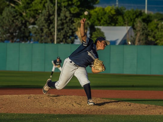 Piedra Vista's Chase Silseth pitches against Centennial on May 11 at Santa Ana Star Field in Albuquerque.