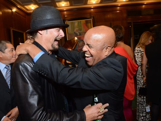Kid Rock and Berry Gordy Jr. at event in Manhattan Tuesday, Sept. 18, 2012, celebrating the restoration of the Motown Museum's grand piano.Photo credit: Shahar Azran/Motown Museum  Picture received Sept. 19, 2012