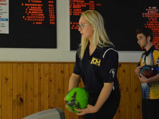 Stephanie Handford prepares to bowl a frame at Jay's