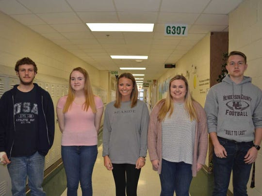 Henderson County High School's Career and Technical Education students of the third quarter are, pictured from left: Denton Cravens, Emma Olson, Kara Goldsberry, Cassady Coomes and Ethan Melton.