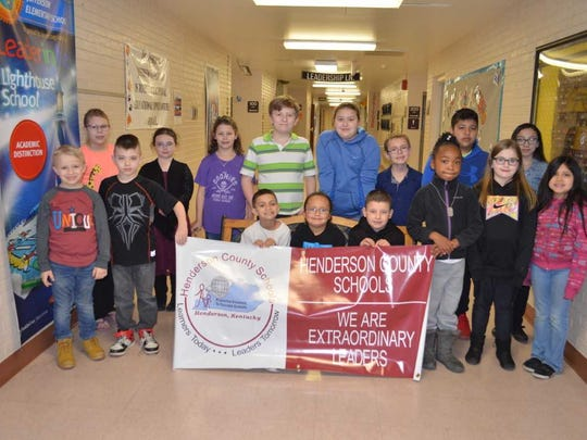 Jefferson Elementary's March leaders of the month are, front row from left: Peyton Massey, Alvin Brooks, Ka'Shaun Taylor, Deidrick Thomas, Joseph Reese, Danyel Thomas, Miley Powell and Aurora Tomas. Back row: Emma Murrell, Emily Green, Charleigh Olmsted, Conrad Hensley, Holly Woodruff, Shane Lewis, Junior Tomas and Khloe Frankum Gregory