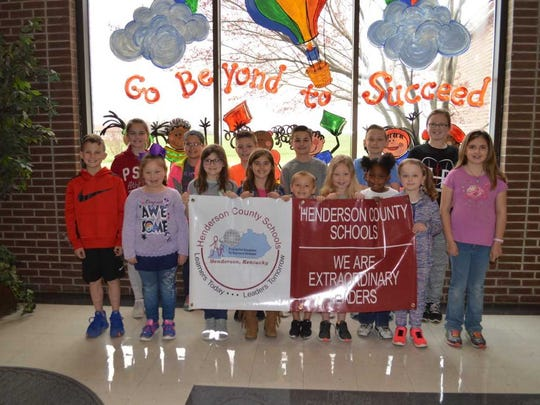 Niagara Elementary's March leaders of the month are, front row from left: Jackson Beals, Izzy Predmore, Peyton London, Ashlynn Tompkins, Reid Bradford, Charlee McMain, Gabourey Joseph, Whitney Ray and Brianna Jones. Back row: Nadia Heitkemper, Caitlyn Ybarra, Tucker Siewert, Eli Loveless, Tristan Griggs and Claire Priest. Beckett Beals is not pictured.
