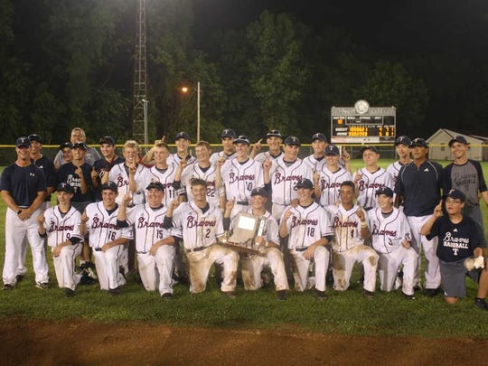 The Tecumseh baseball team poses for a team photo after winning the Class A Sectional 64 championship on Monday night.