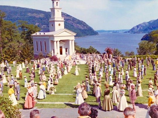 A photograph from the filming of Hello Dolly at Garrison