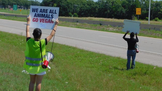 Protesters with PETA stand outside the Sherman  Tyson Foods plant Saturday afternoon.
