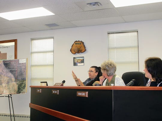County Commissioner Lori Bies questioned Holloman Air Force Base representatives on why it wanted to make changes to its current airspace in order to train F-16 pilots at the Oct. 12 regular county commission meeting.