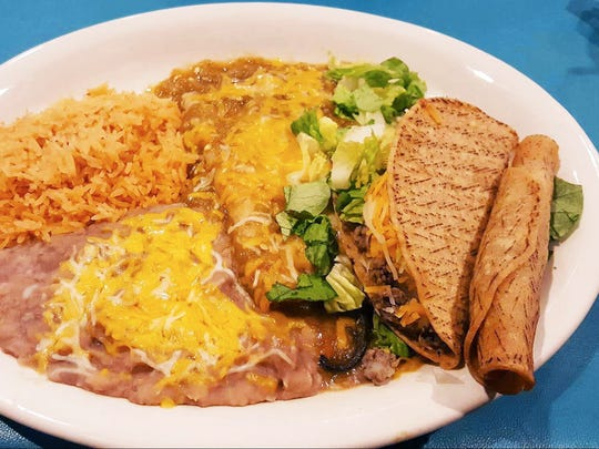 The Mesilla ($12) is a combination plate with a chile relleno, a rolled cheese enchilada, a taco and a flauta with your choice of either green or red chile, with a side of beans and rice.