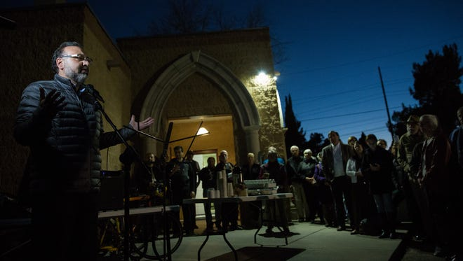 Standing in front of the Islamic Center, Radian Jallad, President of the Las Cruces Islamic Center opened Tuesday nights protest with a few remarks thanking the community for joining in this protest against the recent travel bans put fourth by the new presidential administration. Tuesday, January 31, 2017.