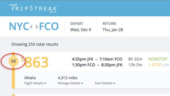 TripStreak brings up flights for your search based