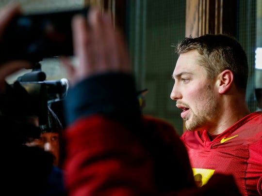 Iowa State's Joel Lanning talks to media after practice