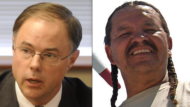 Republican Chris Nelson and Democrat Henry Red Cloud, candidates for PUC