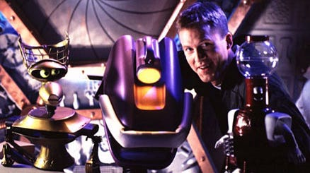 """Michael J. Nelson and the bots of """"Mystery Science Theatre 3000."""""""