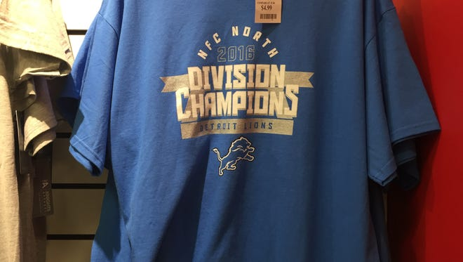 """T.J. Maxx in Chesterfield Township is selling what appears to be an officially licensed NFL T-shirt that proclaims the Lions""""NFC North 2016 Division Champions."""""""