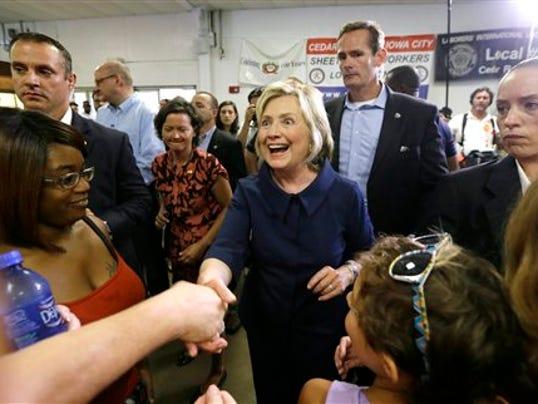 Democratic presidential candidate Hillary Rodham Clinton greets supporters during the Annual Hawkeye Labor Council AFL-CIO Labor Day picnic, Monday, Sept. 7, 2015, in Cedar Rapids, Iowa.