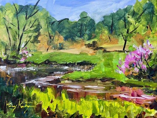 """Small Work: """"Maywood Lilacs"""" acrylic by Keary Kautzer"""