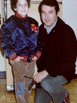 Nicholas Braude, left, and his father Richard Braude  in the kitchen of Richard Braude's parents in Waban (in Newton) in late 1982 or 1983. It is one of the last photos of the two of them together.  Family Photo