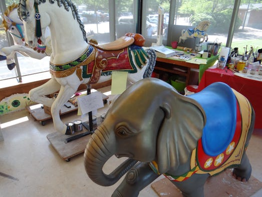 Pancho the elephant waits for his paint to cure in a display room at Salem's Riverfront Carousel on Monday, June 2, 2014. He is sponsored by the Puentes family.