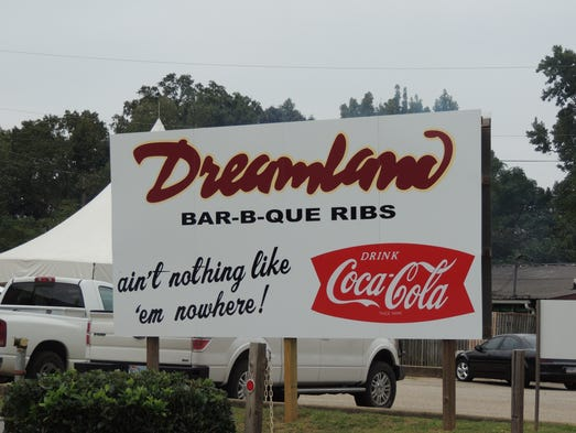 The sign outside the original Dreamland Bar-B-Que restaurant in Tuscaloosa, Ala., lets you know what's waiting inside: ribs.