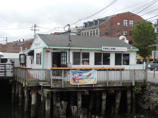 The Portland Lobster Company sits at the foot of dock in downtown Portland – this is the view from the water side.