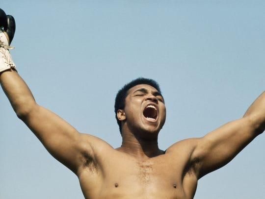 Muhammad Ali training for a fight against  Al 'Blue'