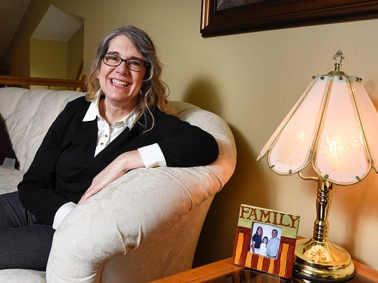 April Myers talks Wednesday, April 20, about the honor of being selected as the Sauk Rapids Citizen of the Year. She is shown at her home in Sauk Rapids.