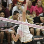 Anderson's Emma Horstman, shown last year against Turpin, keyed the team's success at the Maumee Bay Spiketacular.