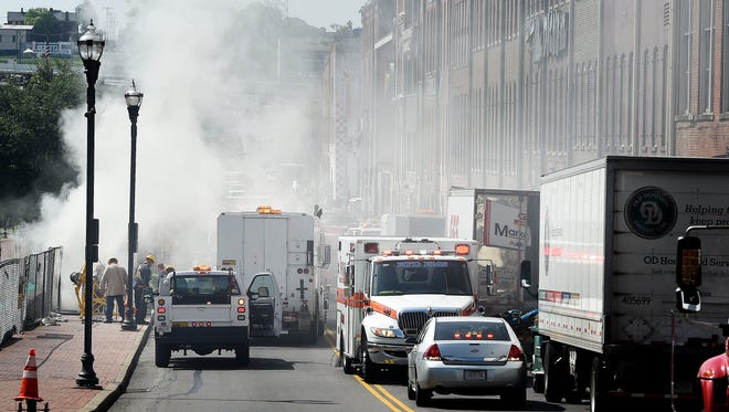 An underground transformer exploded in downtown Nashville Friday morning, according to the Nashville Fire Department. The transformer was located at First Avenue and Broadway and hazmat crews were dispatched.  Friday May 27, 2016, in Nashville, TN
