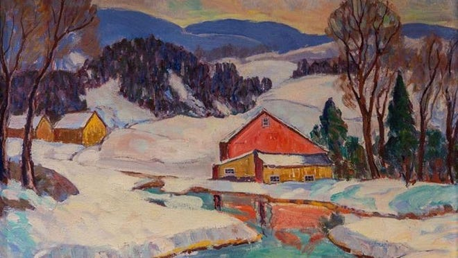 "Fern I. Coppedge (1883-1951), ""Winter Landscape"", n.d. Oil on canvas. PHOTO PROVIDED"