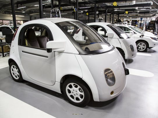 Google's self-driving vehicle prototype is photographed