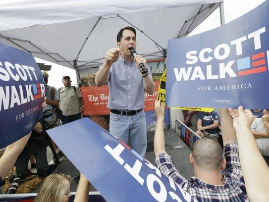 Wisconsin Gov. Scott Walker campaigns for president