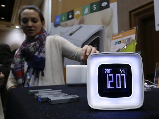 A Sensorwake olfactory alarm is displayed at CES 2016.