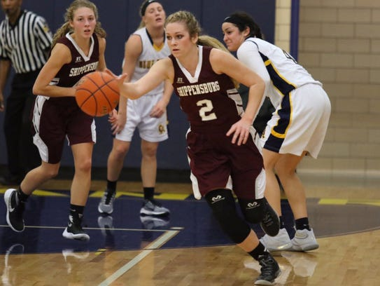 Shippensburg's Kara Newell steals the ball from Greencastle-Antrim
