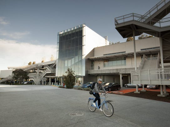 Exterior of Building 20 on the Facebook campus located