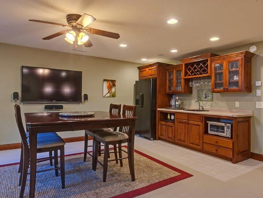 A kitchenette makes lower level living possible at