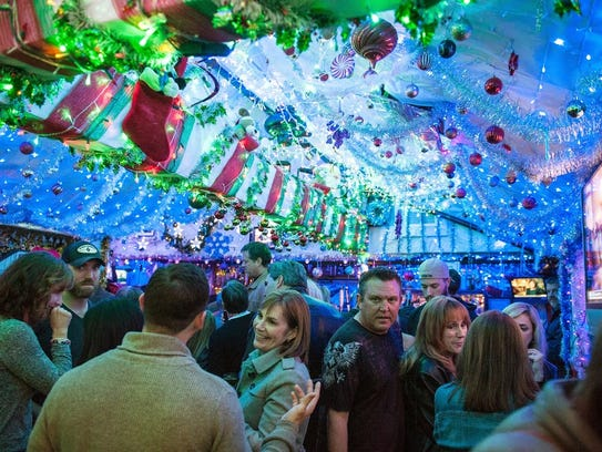 The interior is lined with holiday insanity at the