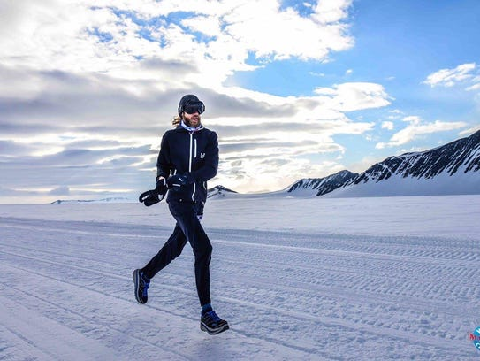Michael Wardian runs here in Antarctica during the