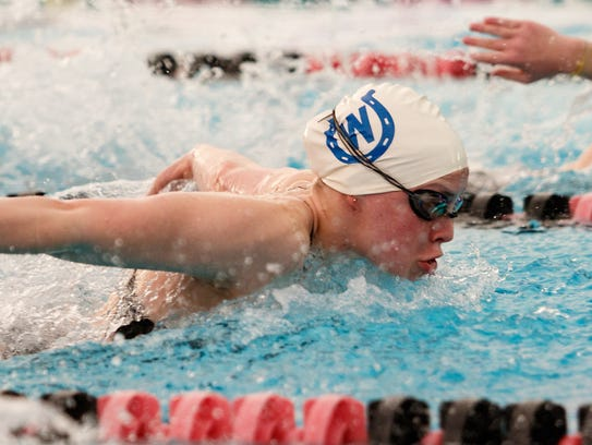 Becca Prangley competes in the butterfly for the Wyoming