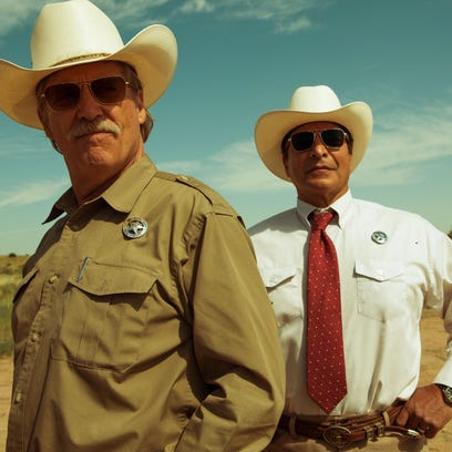 """Gil Birmingham, right, and Jeff Bridges portray Texas Ranger partners in """"Hell or High Water."""""""