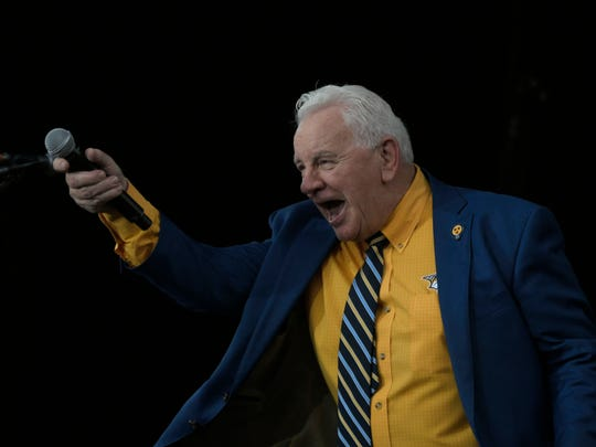 Terry Crisp speaks to Predators fans prior to game 3 of the Stanley Cup Finals on Saturday, June 3, 2017, in Nashville, Tenn.