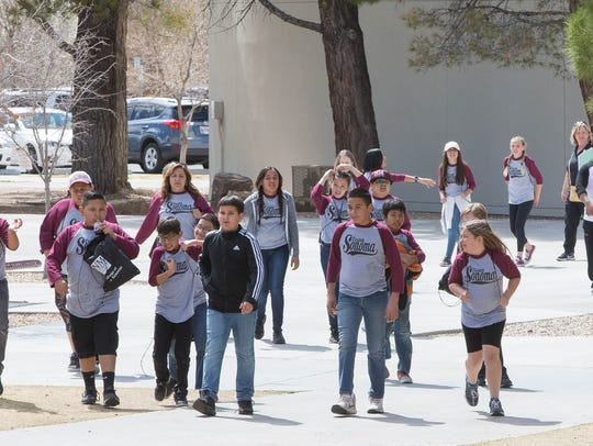 Students from Sonoma Elementary School tour Garcia Hall at New Mexico State University, Friday March 9, 2018.