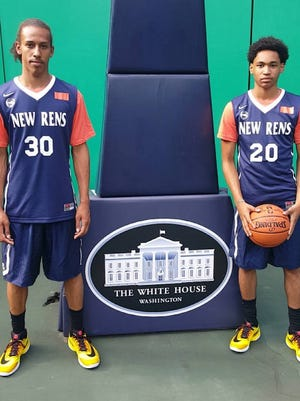 Noah Morgan, left, and Jason Douglas-Stanley of Mount Vernon High School were among the members of the RENS basketball program to visit the White House on June 2, 2016.