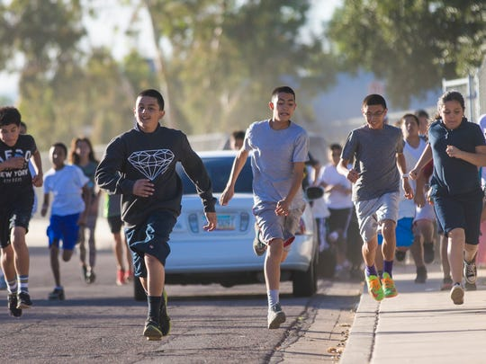 Students from Desert Horizon Elementary School begin
