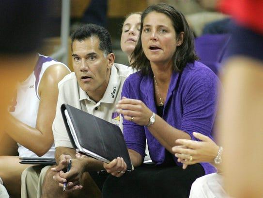 Northern Iowa volleyball coaches Bobbi Petersen, right,
