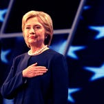 Shown is Democratic presidential candidate Hillary Clinton.