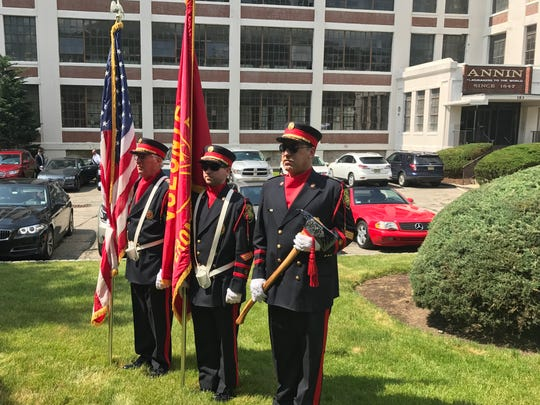 Members of the Verona Fire Department Honor Guard, from left, Rick Neale, Steve Neale and Bill Neal, at the Annin Flag building on June 14, 2017.