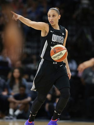 Team Delle Donne's Diana Taurasi in the first half of the game against Team Candace Parker at the WNBA All-Star basketball game Saturday, July 28, 2018 in Minneapolis. Candace Parker's team won 119-112