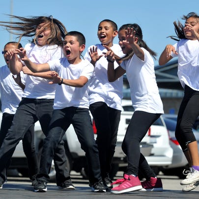 Rio Del Mar school students perform a dance to the