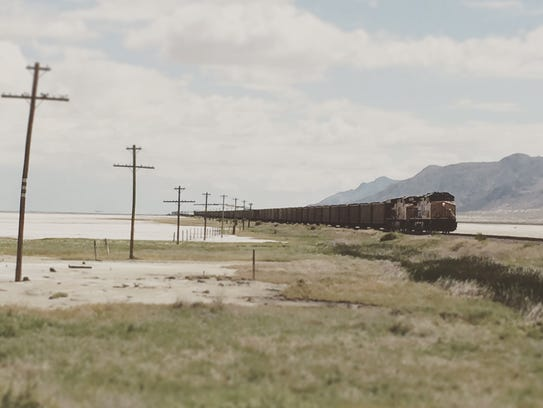 A train waits outside of Gerlach, Nev. during the morning