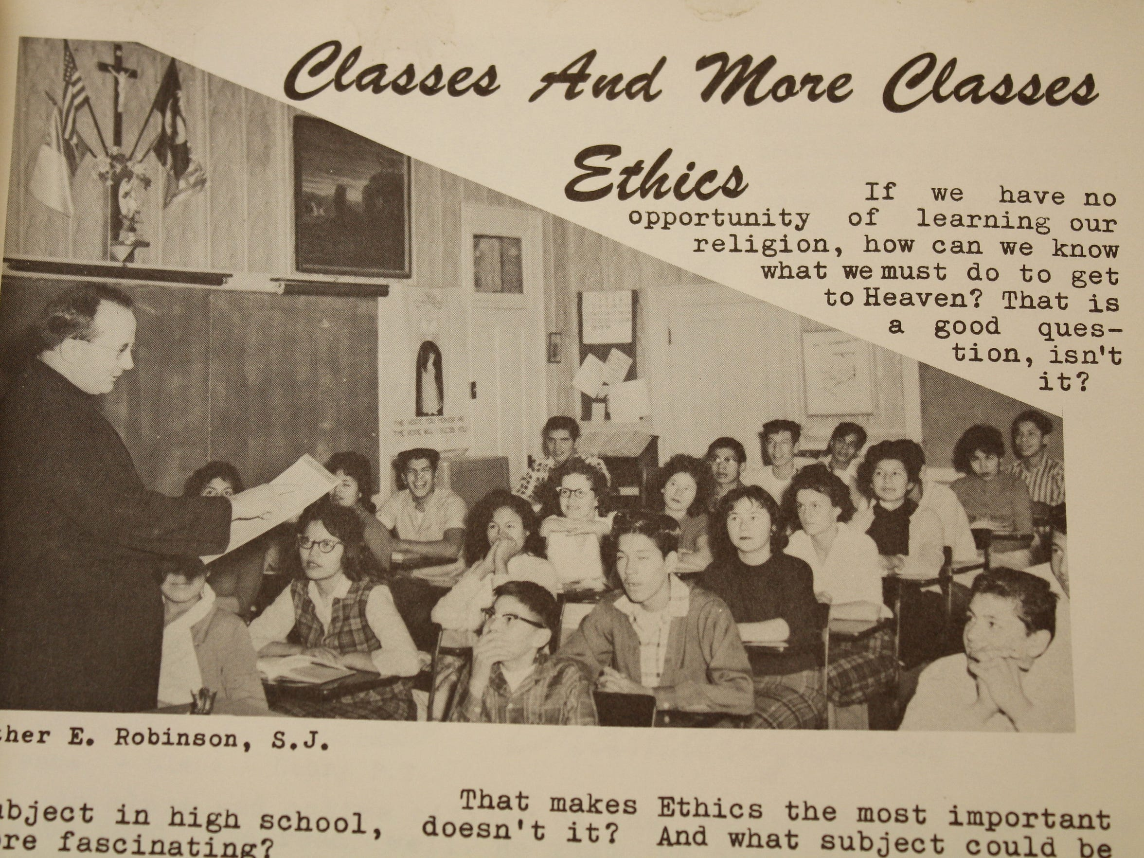 Father Edmund Robinson taught ethics classes at St. Paul's Mission School in Hays, Montana.